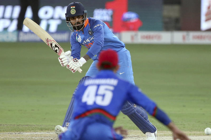 India's Lokesh Rahul bats during the one day international cricket match of Asia Cup between India and Afghanistan in Dubai. (AP Photo/Aijaz Rahi)