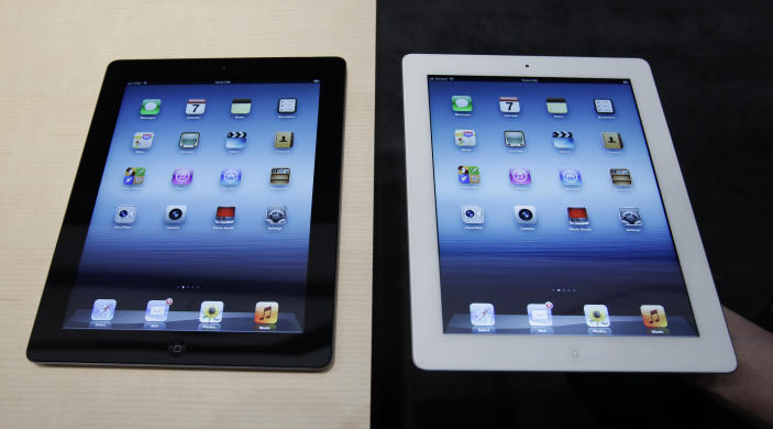 A new Apple iPad is on display during an Apple event in San Francisco, Wednesday, March 7, 2012. The new iPad features a sharper screen and a faster processor. Apple says the new display will be even sharper than the high-definition television set in the living room. (AP Photo/Paul Sakuma)