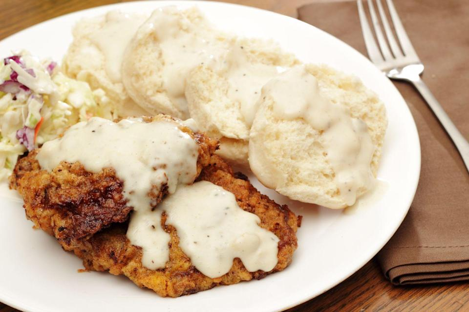 "<p><strong>State Meal: Chicken-fried steak, barbequed pork, fried okra, squash, cornbread, grits, corn, sausage with biscuits and gravy, black-eyed peas, strawberries, and pecan pie</strong></p><p>In 1988, declared April 19 to be Oklahoma Meal Day. The state meal consists of yummy local faves that<a href=""https://www.okhistory.org/publications/enc/entry.php?entry=ST023"" rel=""nofollow noopener"" target=""_blank"" data-ylk=""slk:reflect the culture and history of the state."" class=""link rapid-noclick-resp""> reflect the culture and history of the state.</a></p>"