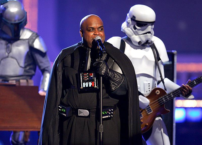"""<p>CeeLo is known for wearing extravagant costumes during his performances. That time the Gnarls Barkley frontman sang """"Crazy,"""" while dressed as Darth Vader at the 2006 MTV Movie Awards is no exception. (Photo: John Shearer/WireImage) </p>"""