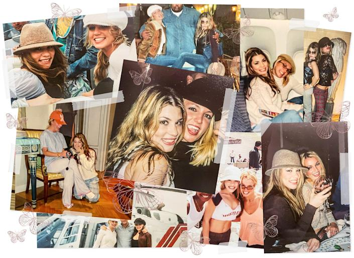 Photos of Annet Artani and Britney Spears held together with tape with rose gold colored butterflies scattered around.