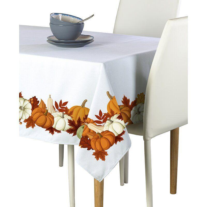 """<p><strong>The Holiday Aisle</strong></p><p>wayfair.com</p><p><strong>$42.90</strong></p><p><a href=""""https://go.redirectingat.com?id=74968X1596630&url=https%3A%2F%2Fwww.wayfair.com%2Fkitchen-tabletop%2Fpdp%2Fthe-holiday-aisle-elwood-pumpkin-border-tablecloth-ftpi1230.html&sref=https%3A%2F%2Fwww.womansday.com%2Flife%2Fg33660033%2Fthanksgiving-tablecloths%2F"""" rel=""""nofollow noopener"""" target=""""_blank"""" data-ylk=""""slk:Shop Now"""" class=""""link rapid-noclick-resp"""">Shop Now</a></p><p>This tablecloth is great if you want to keep things simple on the surface but festive on the sides. </p>"""