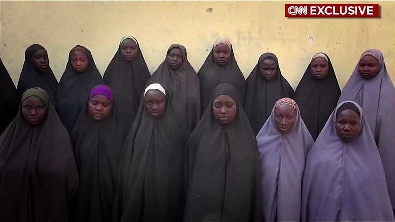 Grab from a video obtained via CNN footage shows 15 of the more than 200 schoolgirls abducted by Boko Haram on April 14, 2016 (AFP Photo/)