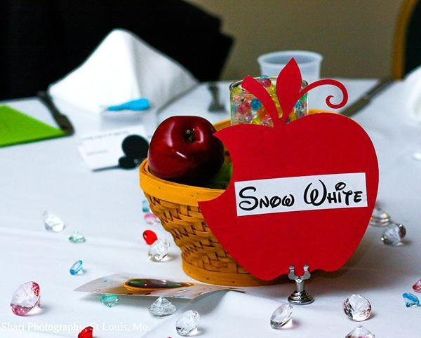 The guest tables were outfitted in different Disney-themes. The Snow White table included a poisonous apple centerpiece.