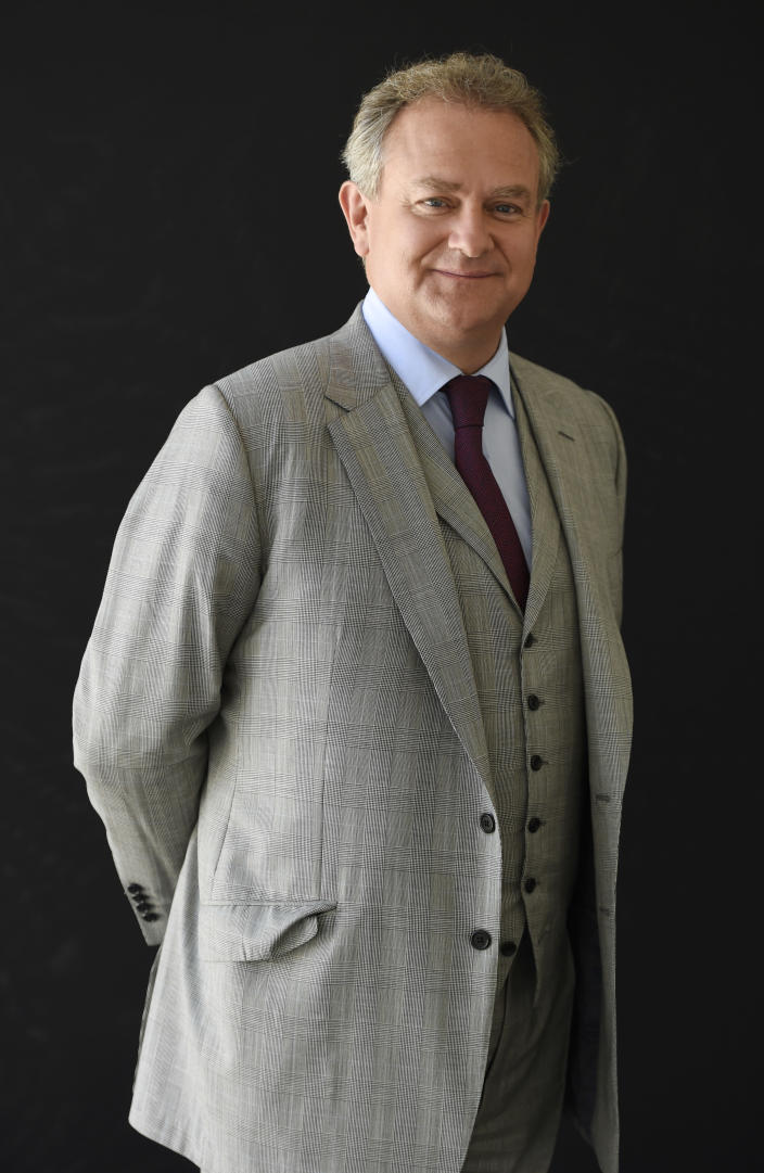 "Hugh Bonneville, a cast member in the PBS series ""Downton Abbey,"" poses for a portrait during the 2015 Television Critics Association Summer Press Tour at the Beverly Hilton on Saturday, Aug. 1, 2015, in Beverly Hills, Calif. (Photo by Chris Pizzello/Invision/AP)"