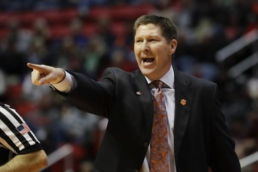 Clemson coach Brad Brownell reacts during the second half of the team's first-round NCAA college basketball tournament game against New Mexico State on Friday, March 16, 2018, in San Diego. (AP Photo/Gregory Bull)