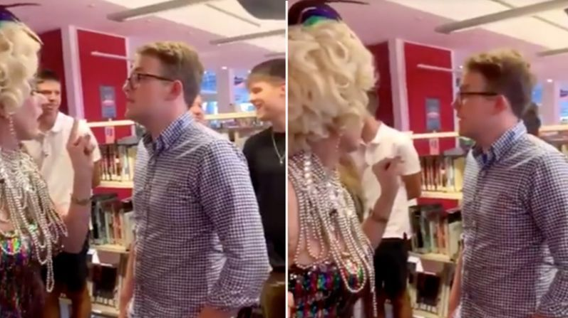 Wilson Gavin was filmed protesting at the drag queen event on Sunday. Source: Twitter