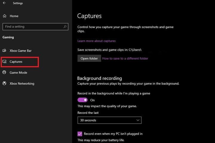 Xbox Game Bar Captures settings screen