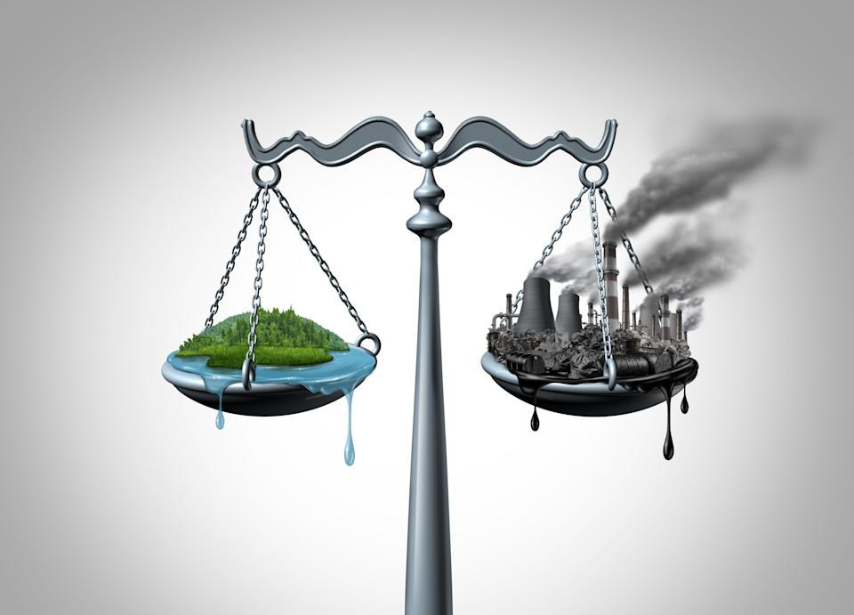 Ecology law environmental impact assessment and natural resources law and taking climate legal action and greenhouse gas reduction regulations with 3D illustration elements. (Photo: wildpixel via Getty Images)