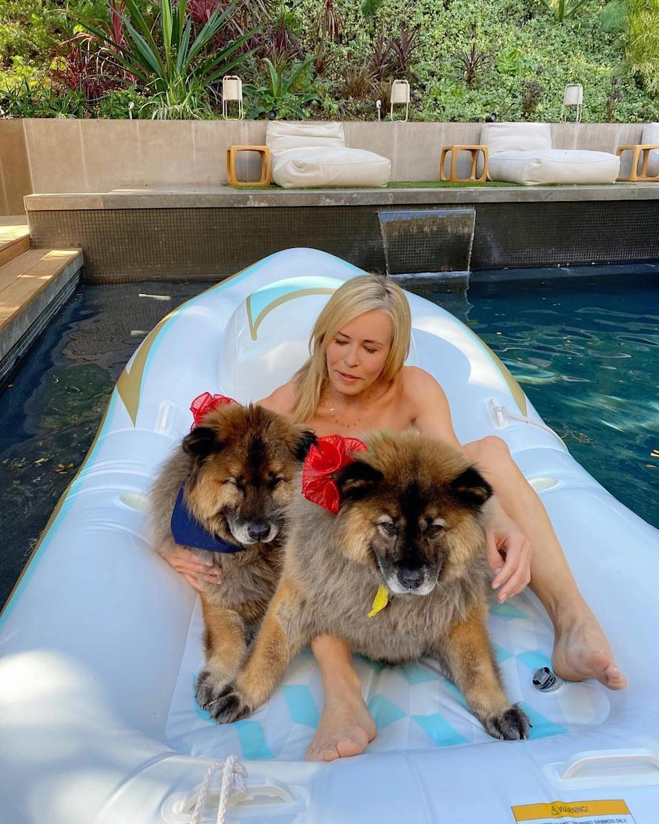 The comedian and talk show host celebrated the festive season with her two pooches. Photo: Instagram/chelseahandler.