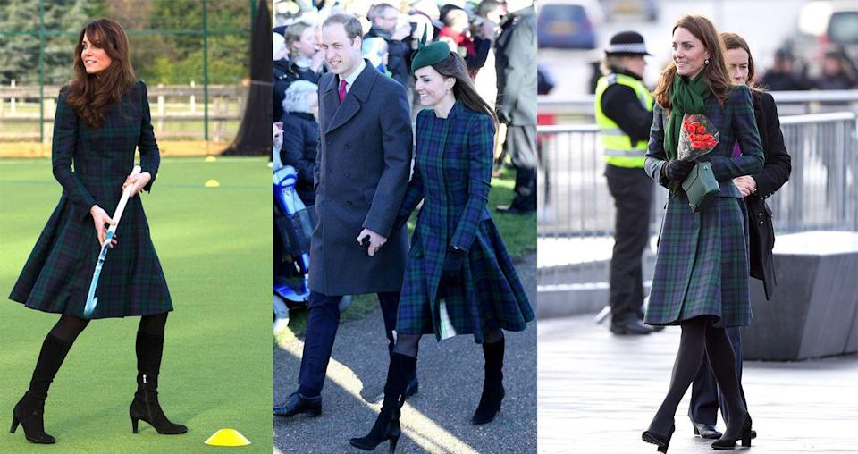 <p>Duchess Kate wore this tartan Alexander McQueen dress coat for the third time on January 29, 2019, to open the V&A Dundee in Scotland. She originally wore the green and blue topper in November 2012 and then again on Christmas day in 2013. </p>