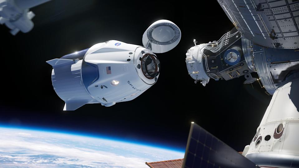 An artist's concept shows the SpaceX Crew Dragon spacecraft undocking from the International Space Station.
