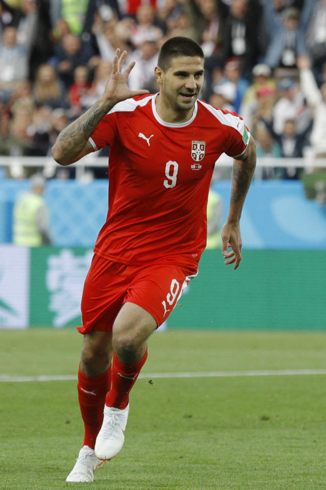 Serbia's Aleksandar Mitrovic celebrates scoring the opening goal during the group E match against Switzerland at the 2018 soccer World Cup in the Kaliningrad Stadium in Kaliningrad, Russia, Friday, June 22, 2018. (AP Photo/Victor Caivano)