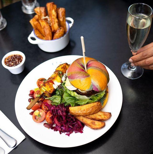 """<p>Soho has an immeasurable number of good vegetarian places and here we are, adding one more. </p><p>In this beautiful modern setting with a slightly Ottolenghi vibe you can do bottomless brunches as well as sampling their seasonal menus. </p><p>Their signature rainbow salad includes cucumber, carrots, peppers, beetroot, kiwi, lemon zest, mint and pineapple, while other favourites include Aloo scotch eggs and tempeh kebabs. </p><p>Somewhere to go if you want a posh lunch date instead of your lunchbox regular.</p><p>For more info, <a href=""""https://ethosfoods.com"""" rel=""""nofollow noopener"""" target=""""_blank"""" data-ylk=""""slk:click here"""" class=""""link rapid-noclick-resp"""">click here</a>.</p><p><a href=""""https://www.instagram.com/p/B4W251sHArl/"""" rel=""""nofollow noopener"""" target=""""_blank"""" data-ylk=""""slk:See the original post on Instagram"""" class=""""link rapid-noclick-resp"""">See the original post on Instagram</a></p>"""