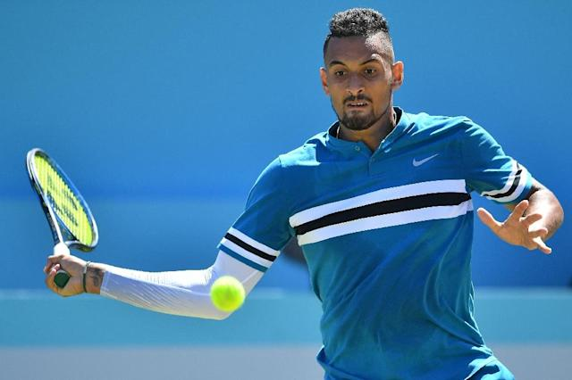 Nick Kyrgios overpowered Feliciano Lopez with 32 aces in his Queen's Club quarter-final win (AFP Photo/Ben STANSALL)