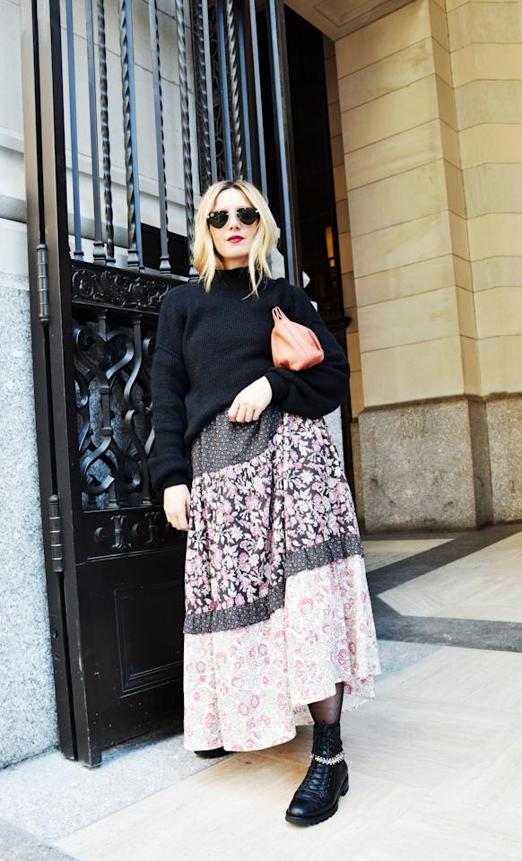 <p>When layering a sweater over a dress, opt for an oversize silhouette rather than a fitted one.  </p>