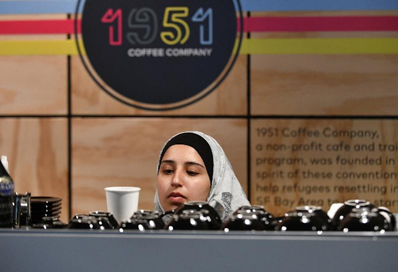 The 1951 Coffee Shop is entirely staffed by refugees from countries that include Syria, Bhutan, Afghanistan, Uganda and Eritrea (AFP Photo/Josh Edelson)