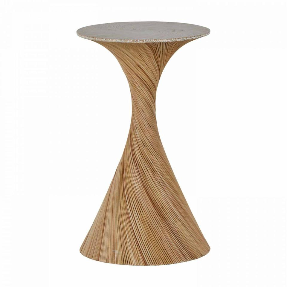 """<p>summerclassicshome.com</p><p><strong>$593.40</strong></p><p><a href=""""https://www.summerclassicshome.com/kirk-drink-table_sch-166240.html"""" rel=""""nofollow noopener"""" target=""""_blank"""" data-ylk=""""slk:Shop Now"""" class=""""link rapid-noclick-resp"""">Shop Now</a></p><p>Swirling rattan creates this drinks table with a bit of 70' flair from <a href=""""https://summerclassics.com/"""" rel=""""nofollow noopener"""" target=""""_blank"""" data-ylk=""""slk:Summer Classics."""" class=""""link rapid-noclick-resp"""">Summer Classics.</a> It's sure to be a new favorite destination come party time.</p>"""