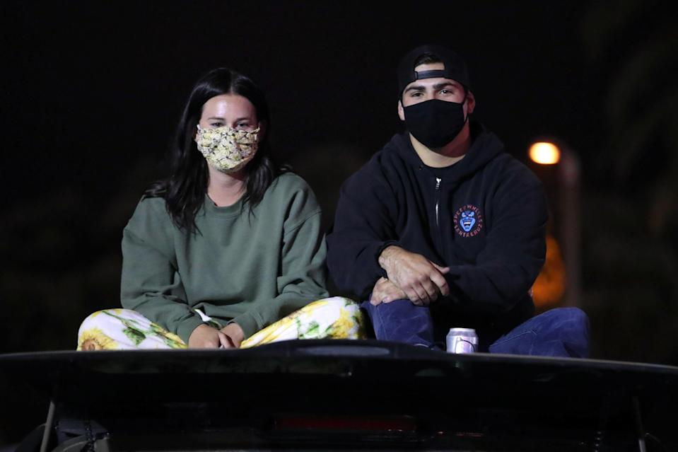 Fans attend a live stream of a Garth Brooks concert in Ventura, Calif., on Saturday. (Rich Fury/Getty Images)