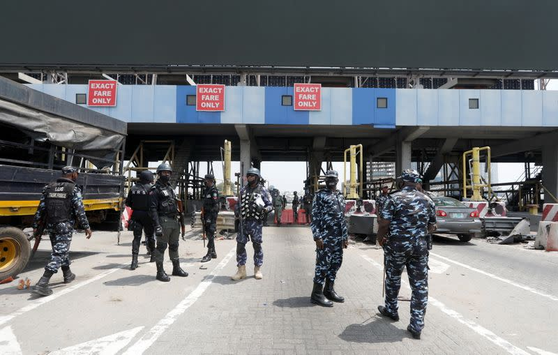 Security forces guard the Lekki Toll Gate in Lagos