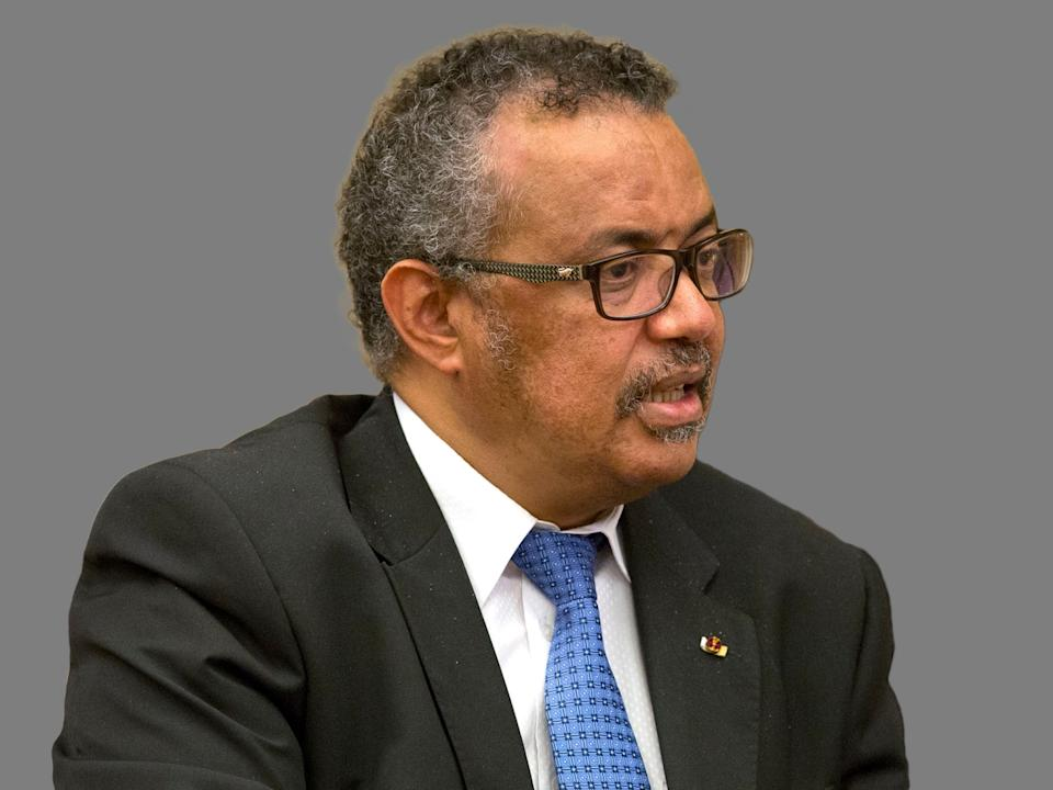 Tedros Adhanom Ghebreyesus headshot, as WHO director-general, graphic element on gray