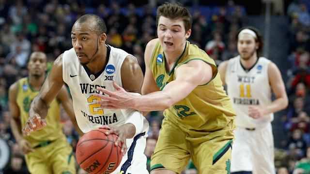 West Virginia never trailed in an 83-71 win over Notre Dame to become the first team to advance to the Sweet 16.