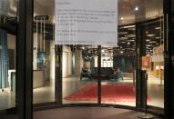 A statement, which explains the closure, is placed at the entrance of the Swissotel hotel in Zurich