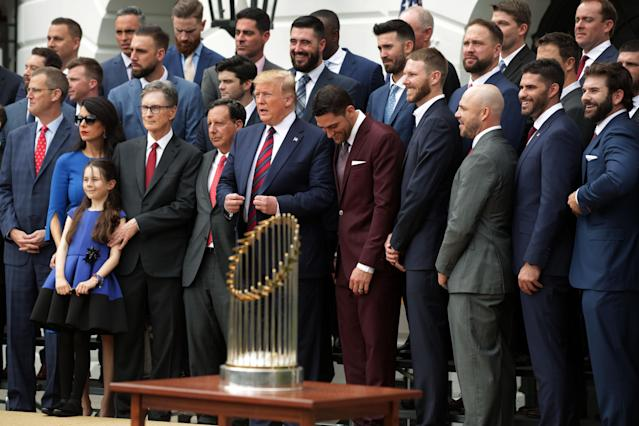 U.S. President Donald Trump poses for photos with members of the Boston Red Sox at the White House May 9, 2019 in Washington, DC. President Donald Trump hosted the Boston Red Sox to honor their championship of the 2018 World Series.(Photo by Alex Wong/Getty Images)