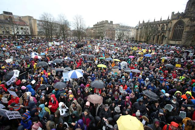 A huge crowd gathers in front of the Council House in Bristol on Friday, where climate campaigner Greta Thunberg gave a speech to climate change protestors. (SWNS)
