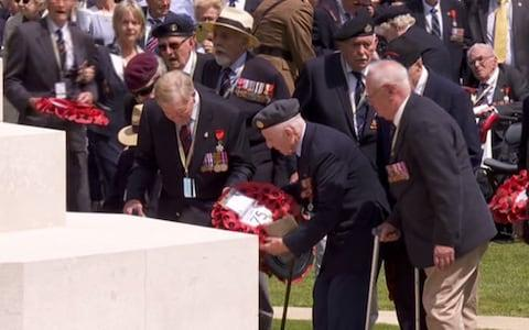 Normandy veterans lay their wreaths - Credit: BBC
