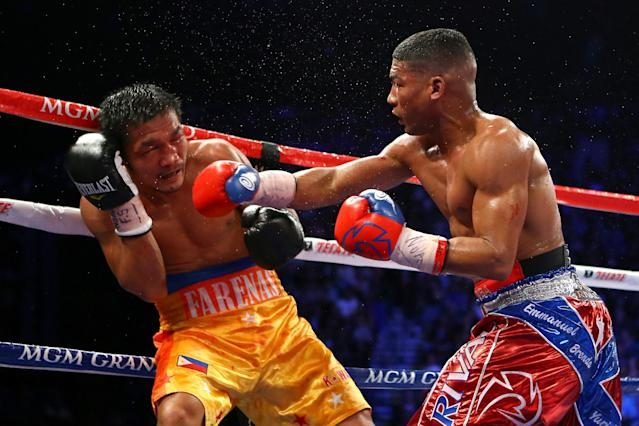 LAS VEGAS, NV - DECEMBER 08: (R-L) Yuriorkis Gamboa connects with a right to the head of Michael Farenas during their super featherweight bout at the MGM Grand Garden Arena on December 8, 2012 in Las Vegas, Nevada. (Photo by Al Bello/Getty Images)