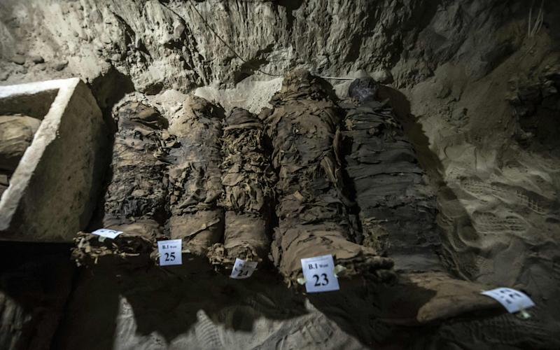 Mummies lying in catacombs following their discovery in the Touna el-Gabal district of the Minya province, in central Egypt. - AFP or licensors