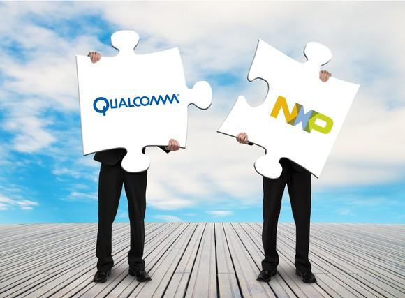 Two businessmen attempt to fit large puzzle pieces together, emblazoned with the logos of NXP and Qualcomm.