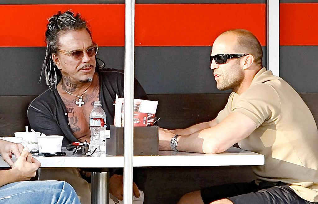 "Two of Tinseltown's tough guys -- Mickey Rourke and Jason Statham -- enjoy lunch at Cristoni Pizzeria in Beverly Hills. TDX/<a href=""http://www.x17online.com"" target=""new"">X17 Online</a> - May 18, 2009"