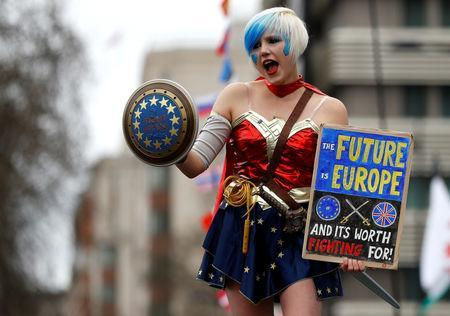 An EU supporter dressed in costume, calling on the government to give Britons a vote on the final Brexit deal, participates in the 'People's Vote' march in central London, Britain March 23, 2019. REUTERS/Peter Nicholls