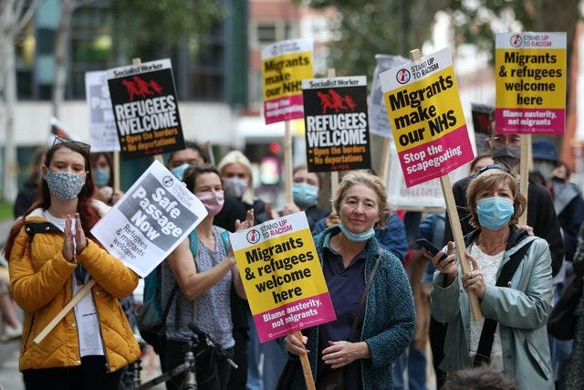 Pro-migrant protesters outside the Home Office in central London