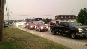 Cars were lined up leaving Wabush on Friday evening, heading for nearby Labrador City.