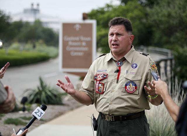 "GRAPEVINE, TX - MAY 23: Boy Scout leader John Stemberger, founder of onmyhonor.net, speaks to reporters at the Gaylord Texan Resort May 23, 2013 in Grapevine, Texas. The Boy Scouts of America today ended its policy of prohibitting openly gay youths from participating in Scout activities, while leaving intact its ban on gay adults and leaders. Onmyhonor.net website says it supports ""Scouting's timeless values and their opposition to open homosexuality in the Scouts. (Photo by Stewart House/Getty Images)"