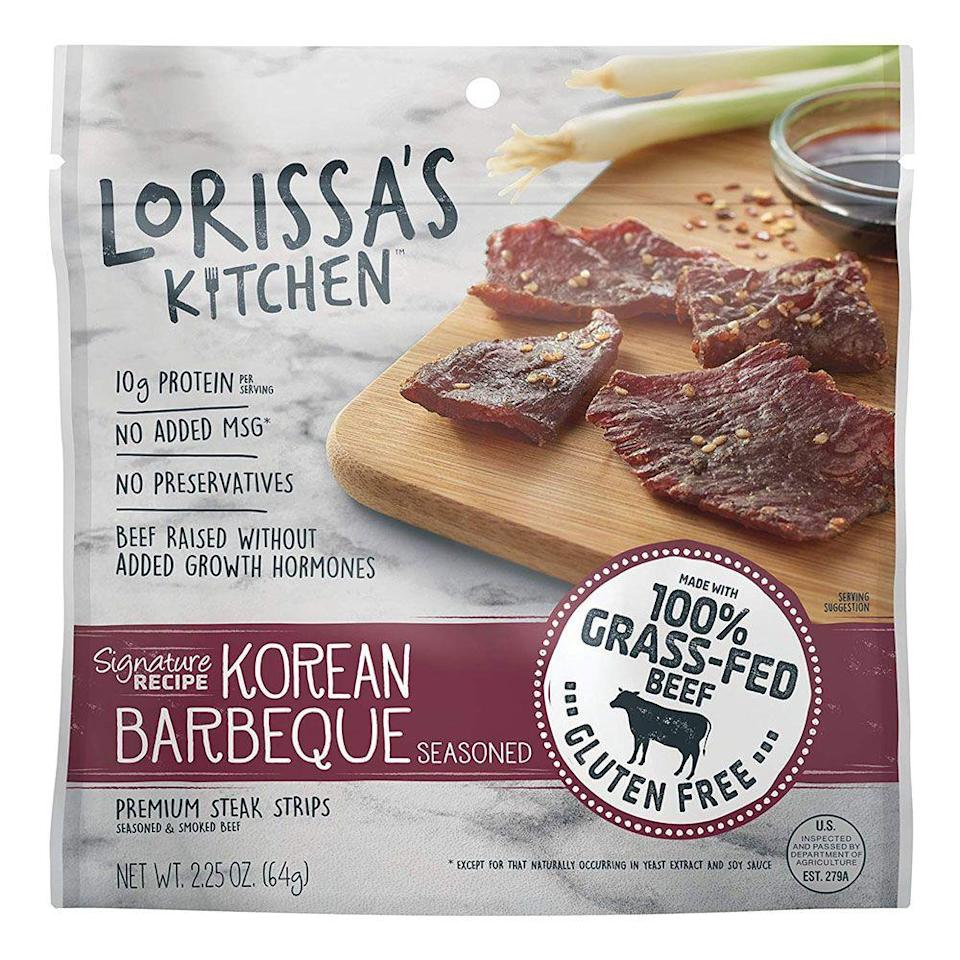 """<p><strong>Lorissa's Kitchen</strong></p><p>amazon.com</p><p><a href=""""http://www.amazon.com/dp/B019MI6LIU/?tag=syn-yahoo-20&ascsubtag=%5Bartid%7C1782.g.28638254%5Bsrc%7Cyahoo-us"""" rel=""""nofollow noopener"""" target=""""_blank"""" data-ylk=""""slk:BUY NOW"""" class=""""link rapid-noclick-resp"""">BUY NOW</a></p><p>In a low-carb and high protein world, jerky is king. Lorissa's Kitchen offers beef, chicken, and turkey options in flavors like Korean Barbeque and Ginger Teriyaki. It's great for when those post-gym munchies hit.</p>"""