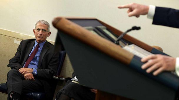 PHOTO: Anthony Fauci watches as President Donald Trump makes a point during the daily briefing of the White House Coronavirus Task Force, April 10, 2020 at the White House in Washington, DC. (Alex Wong/Getty Images)