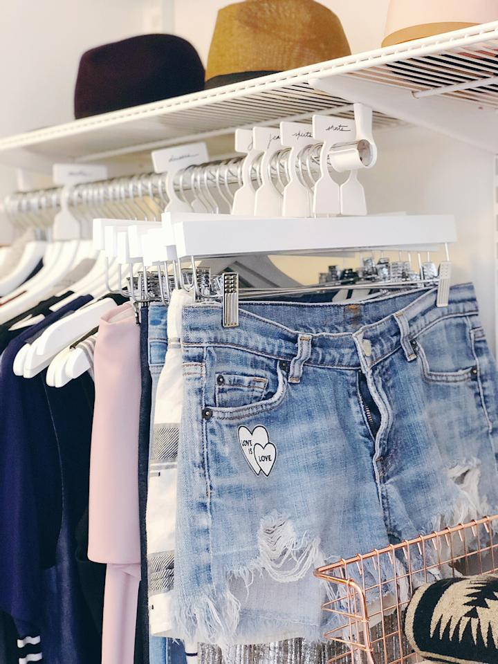 """<p>""""One of the best ways to maintain an organized closet is by using label tags to keep yourself accountable,"""" Leed. To do so, put a system in place to keep it organized long-term. Leed recommends using closet rod dividers to sort and <a href=""""https://www.marthastewart.com/1519151/how-clean-and-organize-everything-your-closet"""">label common categories</a> such as pants, shorts, skirts, dresses, and coats.</p>"""