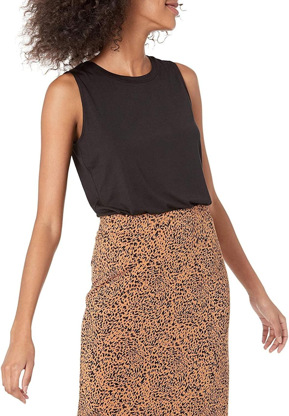 <p>On days when getting dressed isn't a priority, this <span>Amazon Essentials Sleeveless Tank</span> ($17, originally $18) will keep you comfortable and put-together. Style it with a leopard midi skirt or black denim jeans, and you'll be ready to step out in no time.</p>