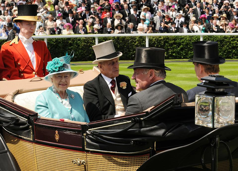 ASCOT, UNITED KINGDOM - JUNE 15: (L-R) Queen Elizabeth II, Prince Philip, Duke of Edinburgh, Samuel Vestey, Master of the Horse and Prince Andrew, Duke of York attend Royal Ascot at Ascot Racecourse on June 15, 2010 in Ascot, England. (Photo by Eamonn McCormack/WireImage)