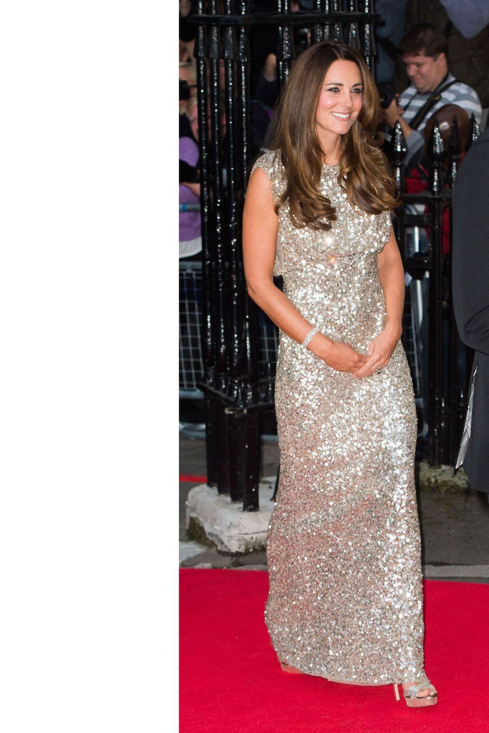 <p>Shining in Jenny Packham at the Tusk Conservation Awards at The Royal Society in London</p>
