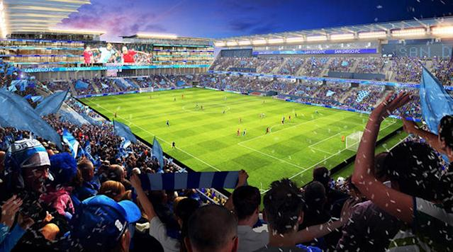 <p>The group behind San Diego's push for an MLS expansion team revealed its plans for a shared, 30,000-seat stadium with the San Diego State University football team on the site where Qualcomm Stadium currently stands.</p>