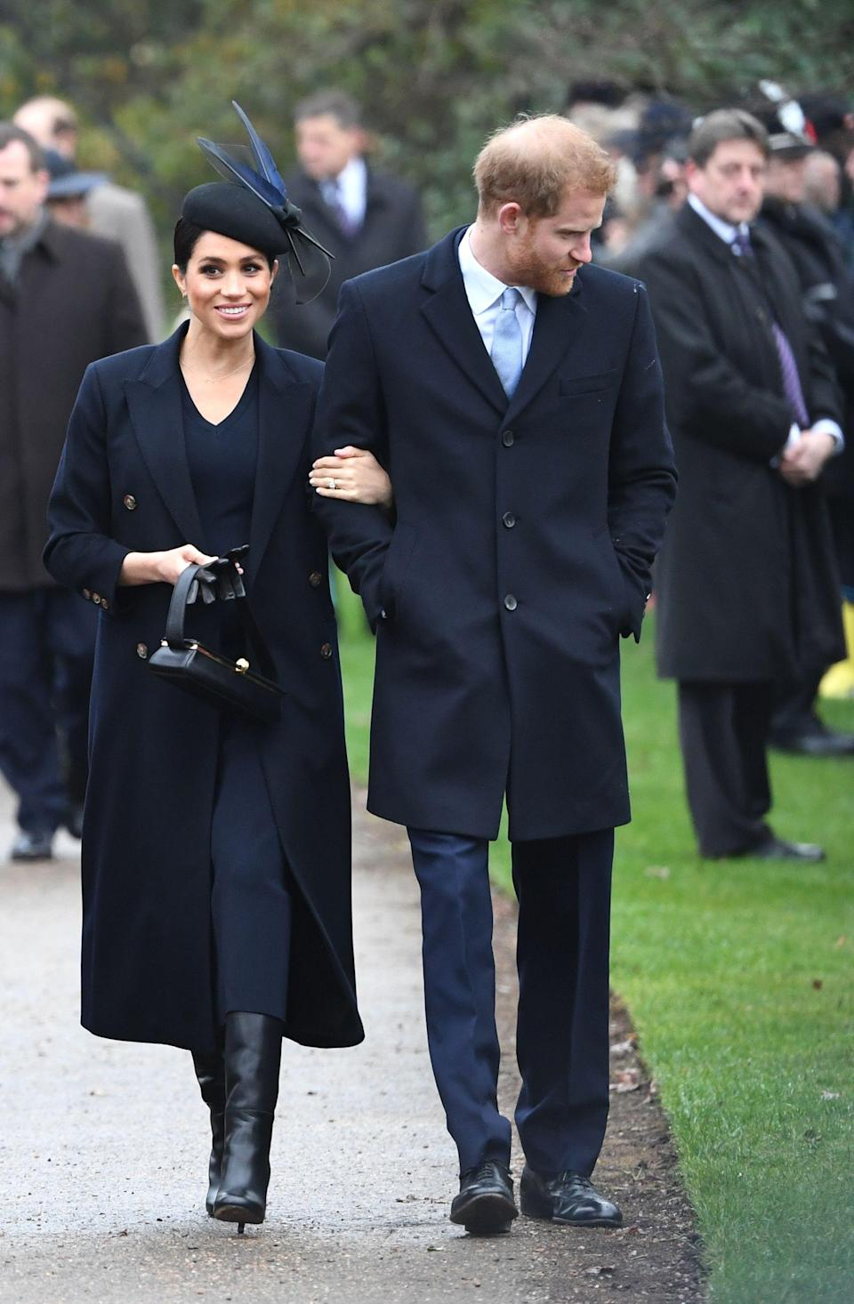 <p>On Christmas Day 2018, the 37-year-old wore a £1,250 woollen dress by Victoria Beckham to church. She teamed the tailored number with a £1,550 structured box bag and a slim coat (both also by the British designer). An Awon Golding hat completed the festive ensemble. <em>[Photo: Getty]</em> </p>