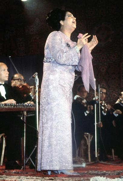 Legendary Egyptian singer Umm Kulthum during a concert in Cairo, in a picture dated mid-1960s