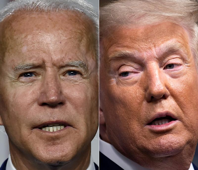 """(COMBO) This combination of pictures created on September 28, 2020 shows Democratic presidential candidate and former Vice President Joe Biden(L) speaking at a """"Build Back Better"""" Clean Energy event on July 14, 2020 at the Chase Center in Wilmington, Delaware, and US President Donald Trump speaking during a briefing at the White House September 27, 2020, in Washington, DC. - At the September 29, 2020 election debate, millions of Americans will watch as the two antagonists -- who depict each other as existential threats to the country -- step into the ring live on television after months of shadow-boxing. (Photos by Olivier DOULIERY and Brendan Smialowski / AFP) (Photo by OLIVIER DOULIERY,BRENDAN SMIALOWSKI/AFP via Getty Images)"""