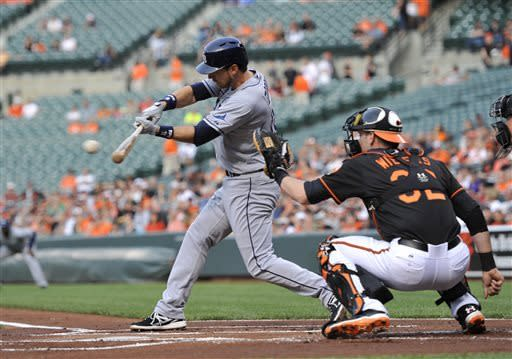 Tampa Bay Rays' Ben Zobrist, left,connects for a double against the Baltimore Orioles in the first inning of a baseball game, Friday, May 17, 2013, in Baltimore. (AP Photo/Gail Burton)