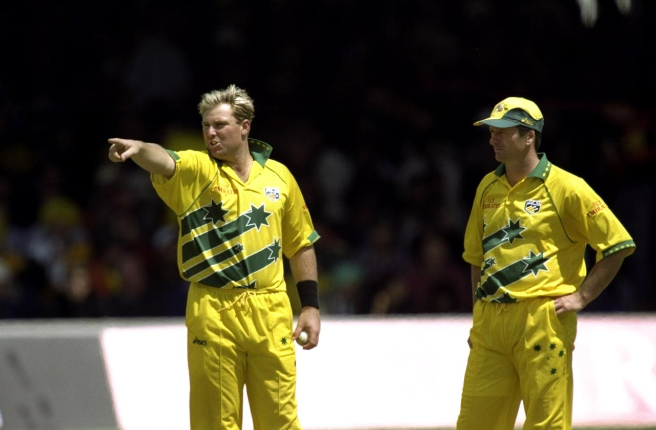 20 Jun 1999:  Steve Waugh of Australia looks on as his vice-captain Shane Warne sets the field during the Cricket World Cup Final against Pakistan at Lord's in London. Australia won by 8 wickets. \ Mandatory Credit: Clive Mason /Allsport